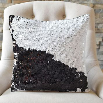 Bold Black & White Sequin Mermaid Pillow - COVER ONLY (Inserts Sold Separately)