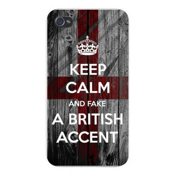 Apple Iphone Custom Case 4 4s Snap on - 'Keep Calm and Fake A British Accent' Wood Grain Design