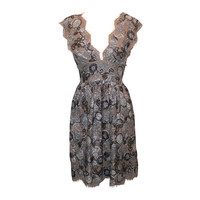 Burberry Taupe Metallic Lace Dress- 42