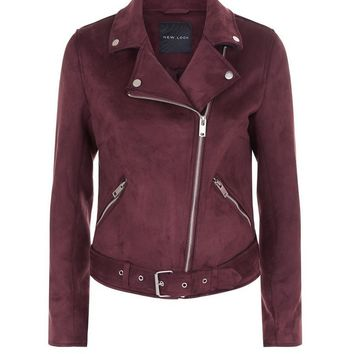 Burgundy Suedette Biker Jacket | New Look