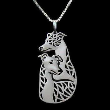 Detailed Whippet Greyhound Dog Shaped Cut Out Pendant Necklace in Silver