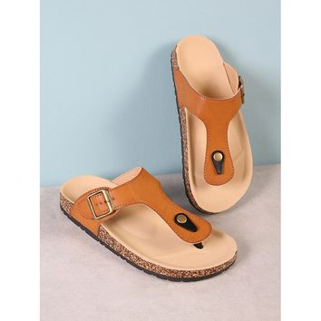 Cork Footbed Slide Sandal with Buckled T-Strap Thong TAN