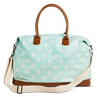 Women's Polka Dot Canvas Weekender Handbag - Mint : Target