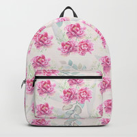 watercolor peonies Backpack by sylviacookphotography