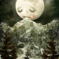 The Peckish Moon  LARGE print by meluseena on Etsy