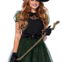 Women's Black Tea Dress with Sheer Short Sleeves Spellcaster Halloween Costume