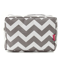 Grey Chevron Zig Zag Large Cosmetic Bag Pouch  Personalized Travel Bag  Makeup Bag   Birthday  Teachers  Gift
