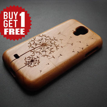 Dandelion Samsung Galaxy S4 Wood Case - Cherry Wood Samsung Galaxy S4 Wood Case - Samsung Galaxy S4 Case - Samsung Galaxy Note 2 Case - Gift
