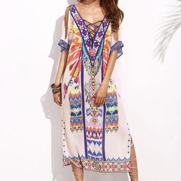 ONETOW Pink Tribal Print Lace Up Open Shoulder Side Split Dress Day-First?
