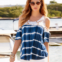 Causal Lace Patchwork Tie Dye T-Shirt 11608