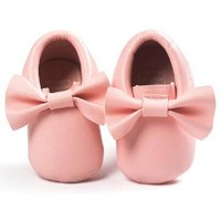*IN STOCK* Light Pink Bow Faux Leather Moccasin