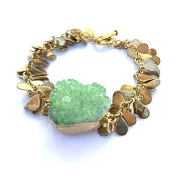 Green Druzy Cluster bracelet Golden and Peridot Druzy Bracelet August Birthstone, gift for Her