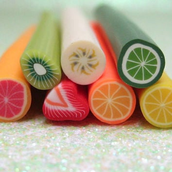 discounted seconds polymer clay fruit canes 7pcs off shaped lemon lime orange pink grapefruit banana kiwi strawberry