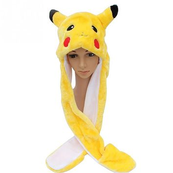 New fall winter Cartoon Soft Short Plush Warm Pikachu Hat Cartoon Animal Scarf Cap Earflaps Gloves Children Kids cosplay costume