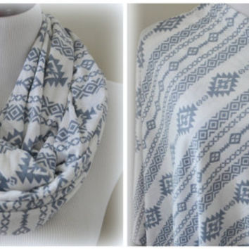 Gray and White Aztec Nursing Scarf, Nursing Cover, Baby Gift
