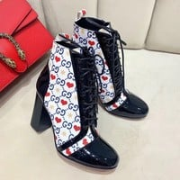GUCCI Women Fashion Leather Hot Sale Casual High Top Boots Heels Shoes Sandals Slides slipper Flat Winter Autumn
