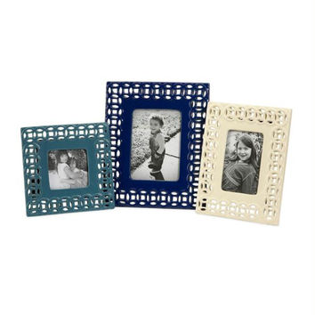 3 Photo Frames - Blue And White