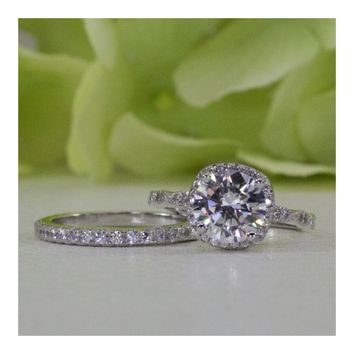 2.00 ct. Sterling Silver Round CZ Halo Engagement Ring Set