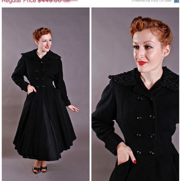 CHRISTMAS SALE - 1950s Vintage Coat - Dramatic Fit and Flare Wool Coat with Persian Lamb Collar - Midnight Stroll