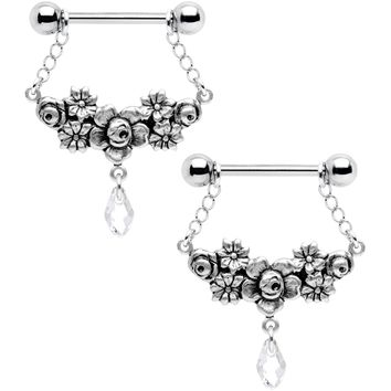 Handmade Encircled Flowers Nipple Ring Set Created with Swarovski Crystals