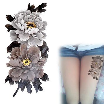 China Peony Flower Tattoo Series Grey-White Waterproof Temporary Tattoos Stickers Arm Leg Tatto YM-X226
