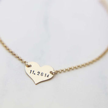 Personalized Heart Bracelet / Customized heart Bracelet  / Bridesmaids Necklace