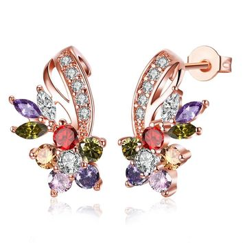 18K Rose Gold Plated Rainbow Earrings Made with Swarovski Elemen 0bd91d4e7c