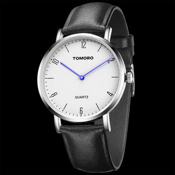 TOMORO in USA Super Slim Casual Business Genuine Leather Brand Japan Quartz  Minimumism Watch Men's Simple Fashion