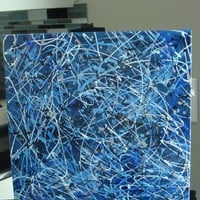 Abstract Acrylic Splatter Painting- Blue- Canvas- Ready to Hang