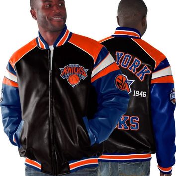 New York Knicks Home Team Faux Leather Full Zip Jacket - Black