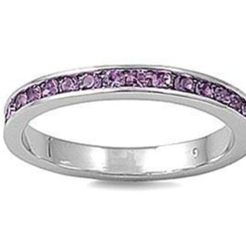 Light Swarovski Amethyst Silver 3mm Eternity Ring