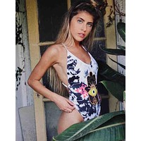 Fashion Women Personality Black White Tie-dye Eye Print Vest Style One Piece Bikini Swimwear