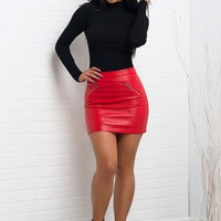 Vienna Faux Leather Skirt - Red