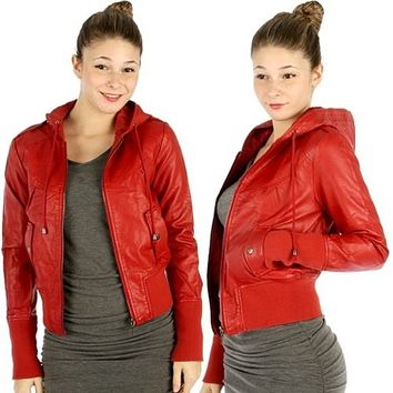 Women's Faux Leather Hoody Jacket Red