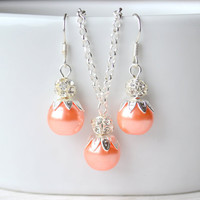 Peach Coral Light orange necklace and earrings set ,Light Orange bridesmaid jewelry set, Pearl and rhinestone jewelry
