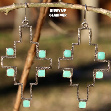 Large Silver Southwest Earring with Turquoise