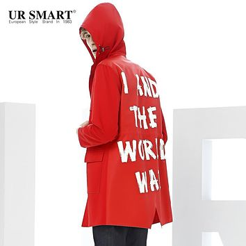 URSMART hooded men's windbreaker long red dust coat in young male character of autumn new fund trench coat