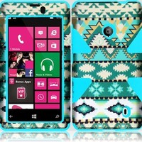 For Nokia Lumia 521 520 Dynamic Tribal Aztec Tuff Hybrid Cover Case (Mint Green Aztec/Sky Blue)