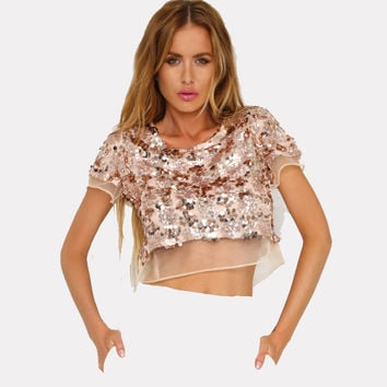 Sequin Mesh Casual Loose Shirts Blusas Women O Neck Short Sleeve Summer T Shirt Organza Sequin Sexy Crop Top Short Shirts Tops