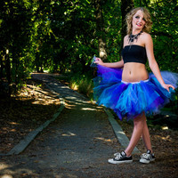 Adult tutu skirt , gogo dancer, rave raver tutu, wedding, raver, edc, purple black turq