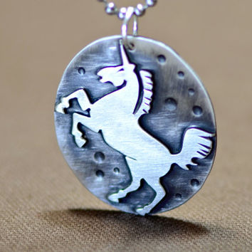 Unicorn Necklace with artisan handsawed unicorn on antiqued silver backing - solid 925 NL793