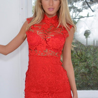 Floral Crochet Lace Turtleneck Sleeveless Bodycon Mini Dress