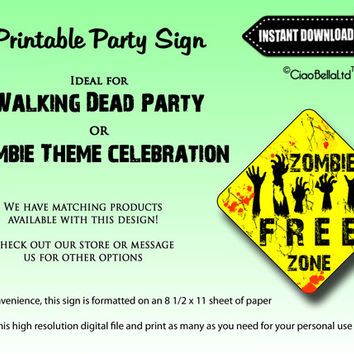 The Walking Dead Zombie Free Zone - INSTANT DIGITAL DOWNLOAD