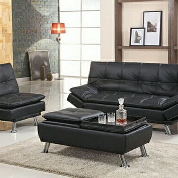 Asia Direct 8631 Black upholstered button tufted adjustable single seat futon chair