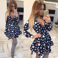 Shirt Dress Print Long Sleeve Irregular Waistband One Piece Dress [4920430916]