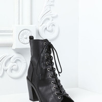 BLACK LACED UP OPEN TOE BOOTIES
