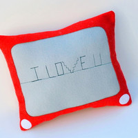 I Love You on Etchasketch Cushion - YellowBugBoutique on Etsy