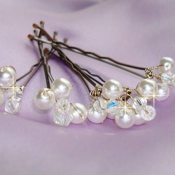 Wedding Hairpiece, Bridal Accessories, Set of 6 Bridal Ivory Pearls and Swarovski Crystals Hair Bobby Pins - Pick your color