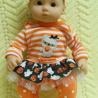 "American Girl Bitty Baby clothes Bitty Twins clothes""My First Halloween - Mummy"" (15 inch)  tutu dress  leggings socks hair clip headband"