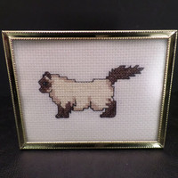 Miniature Cat Embroidery Framed